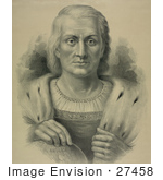#27458 Illustration Of A Portrait Of Christopher Columbus Facing Front And Resting His Hand Over America On A Globe