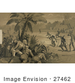 #27462 Illustration Of Christopher Columbus And His Crew Men Hiding Behind Bushes Under A Palm Tree And Watching Indigenous Native Men Playing What Appears To Be Baseball Upon The First Landing In The New World At San Salvador