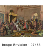 #27463 Illustration Of Christopher Columbus With Natives From The New World Standing Proudly Before The King And Queen Of Spain King Ferdinand And Queen Isabella At The Court Of Barcelona Spain In February Of 1493