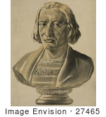 #27465 Illustration Of A Bust Statue Of Christopher Columbus