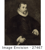 #27467 Illustration Of A Portrait Of A Portrait Of Christopher Columbus Seated In A Chair With His Body Slightly To The Right And His Head Looking Towards The Viewer