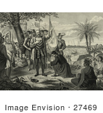 #27469 Illustration Of Curious Natives Watching A Man Kneeling And Bowing To Christopher Columbus And His Men Upon Landing In The New World