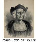 #27470 Illustration Of A Portrait Of Christopher Columbus Wearing A Hat
