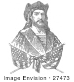 #27473 Illustration Of Two Crossed Flags Over A Bust Portrait Of Christopher Columbus Which Is Composed Of 41819 Letters Representing The Biography Of Columbus