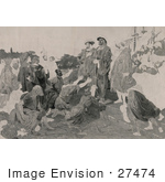 #27474 Illustration Of Christopher Columbus In Chains Returning To Cadiz Spain As People Kneel And Throw Themselves At His Feet
