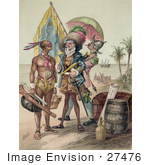 #27476 Illustration Of Christopher Columbus Speaking To A Native Man During The Landing Of Columbus At San Salvador In 1492