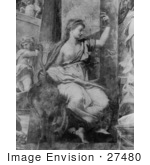 #27480 Illustration Of A Woman Justice Seated And Holding Scales In Her Left Hand With Her Right Hand On The Neck Of An Ostrich In &Quot;The Raphael Stanze&Quot; Rome Italy By By Giovan Francesco Penni