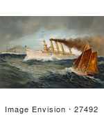 #27492 Illustration Of The Steamship New York In The Background Left The Steamship Brooklyn In The Center And A Fishing Boat With Sails In The Foreground Out At Sea During The Spanish-American War