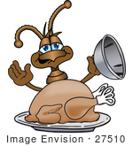 #27510 Clip Art Graphic Of A Brown Ant Insect Mascot Character Serving A Thanksgiving Turkey On A Platter