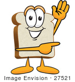 #27521 Clip Art Graphic Of A White Bread Slice Mascot Character Waving And Pointing