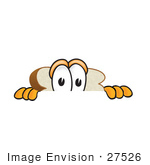 #27526 Clip Art Graphic Of A White Bread Slice Mascot Character Looking Nervously Over A Surface