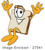 #27541 Clip Art Graphic Of A Happy White Bread Slice Mascot Character Jumping