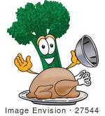 #27544 Clip Art Graphic Of A Broccoli Mascot Character Serving A Cooked Thanksgiving Turkey On A Platter