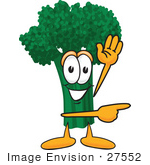 #27552 Clip Art Graphic Of A Broccoli Mascot Character Waving And Pointing To The Right