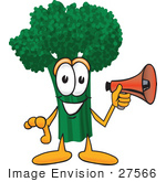#27566 Clip Art Graphic Of A Broccoli Mascot Character Preparing To Make An Announcement With A Red Megaphone Bullhorn