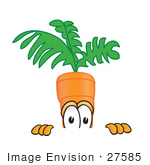 #27585 Clip Art Graphic Of An Organic Veggie Carrot Mascot Character Peeking Over A Surface