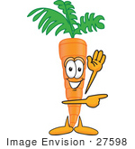 #27598 Clip Art Graphic Of An Organic Veggie Carrot Mascot Character Waving And Pointing To The Right