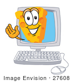 #27608 Clip Art Graphic Of A Swiss Cheese Wedge Mascot Character Waving From Inside A Computer Screen