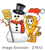 #27612 Clip Art Graphic Of A Swiss Cheese Wedge Mascot Character Standing By A Snowman