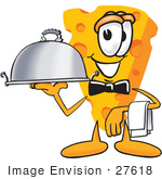 #27618 Clip Art Graphic Of A Swiss Cheese Wedge Mascot Character Serving A Dinner Platter While Waiting Tables
