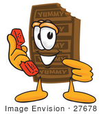 #27678 Clip Art Graphic Of A Chocolate Candy Bar Mascot Character Holding A Telephone