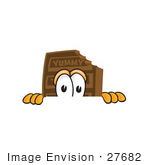 #27682 Clip Art Graphic Of A Chocolate Candy Bar Mascot Character Peeking Over A Surface