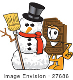 #27686 Clip Art Graphic Of A Chocolate Candy Bar Mascot Character With A Snowman On Christmas