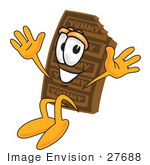 #27688 Clip Art Graphic Of A Chocolate Candy Bar Mascot Character Jumping