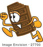 #27700 Clip Art Graphic Of A Chocolate Candy Bar Mascot Character Running
