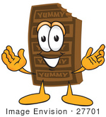 #27701 Clip Art Graphic Of A Chocolate Candy Bar Mascot Character With Welcoming Open Arms