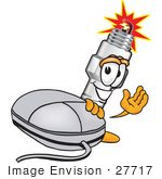 #27717 Clip Art Graphic Of A Spark Plug Mascot Character With A Computer Mouse