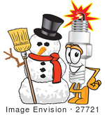 #27721 Clip Art Graphic Of A Spark Plug Mascot Character With A Snowman On Christmas