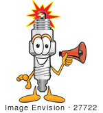 #27722 Clip Art Graphic Of A Spark Plug Mascot Character Holding A Megaphone