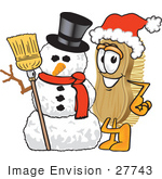 #27743 Clip Art Graphic Of A Scrub Brush Mascot Character Wearing A Santa Hat And Standing With A Snowman