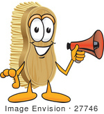 #27746 Clip Art Graphic Of A Scrub Brush Mascot Character Holding A Red Megaphone Bullhorn
