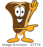 #27774 Clip Art Graphic Of A Beef Steak Meat Mascot Character Waving And Pointing To The Right