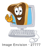 #27777 Clip Art Graphic Of A Beef Steak Meat Mascot Character Waving From Inside A Computer Screen