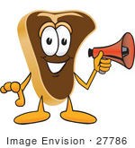 #27786 Clip Art Graphic Of A Beef Steak Meat Mascot Character Preparing To Make An Announcement With A Red Megaphone Bullhorn