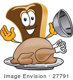 #27791 Clip Art Graphic Of A Beef Steak Meat Mascot Character Serving A Thanksgiving Turkey On A Platter