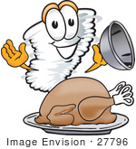 #27796 Clip Art Graphic Of A Tornado Mascot Character Serving A Thanksgiving Turkey On A Platter