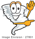 #27801 Clip Art Graphic Of A Waving And Pointing Tornado Mascot Character