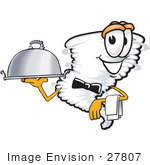 #27807 Clip Art Graphic Of A Tornado Mascot Character Waiting Tables And Serving A Dinner Platter