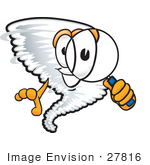#27816 Clip Art Graphic Of A Tornado Mascot Character Looking Through A Magnifying Glass