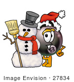 #27834 Clip Art Graphic Of A Bowling Ball Cartoon Character Wearing A Santa Hat And Standing With A Snowman