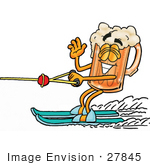 #27845 Clip Art Graphic Of A Frothy Mug Of Beer Or Soda Cartoon Character Waving While Passing By On Water Skis