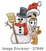 #27849 Clip Art Graphic Of A Bone Cartoon Character Wearing A Santa Hat And Standing By A Snowman