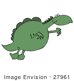 #27961 Clip Art Graphic Of A Green Dinosaur Taking A Leap For Something It Desires