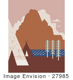 #27985 American Indian Tipis And Rock Art Near A River And Mountains In Montana Stock Illustration