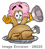 #28020 Clip Art Graphic Of A Strawberry Ice Cream Cone Cartoon Character Serving A Thanksgiving Turkey On A Platter