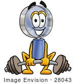 #28043 Clip Art Graphic Of A Blue Handled Magnifying Glass Cartoon Character Lifting A Heavy Barbell